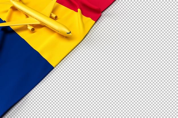 Avion de passagers et drapeau du tchad