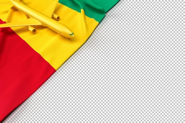 Avion de passagers et drapeau de la guinée