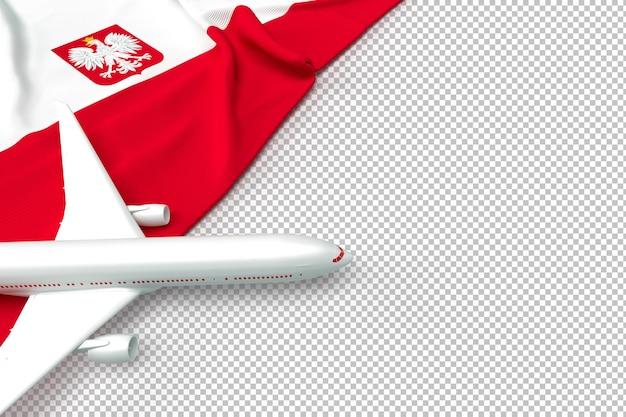 Avion de passagers et drapeau de la pologne
