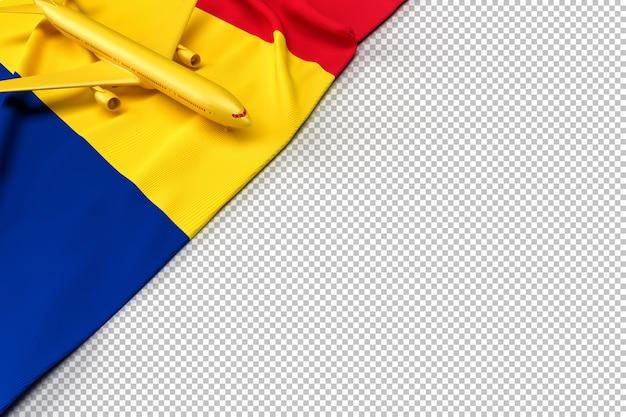 Avion de passagers et drapeau de la roumanie