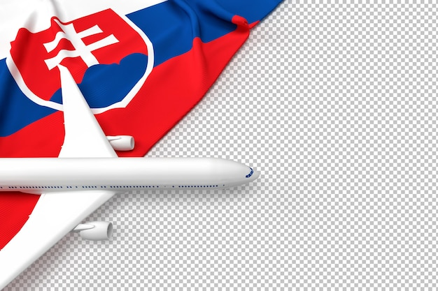 Avion de passagers et drapeau de la slovaquie