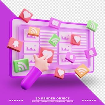 Avis d'illustration 3d sur le site web avec personnage de dessin animé à la main rendu 3d de l'illustration technologique
