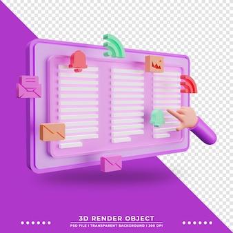 Avis d'illustration 3d sur le site web avec personnage de dessin animé à la main rendu 3d de technologie