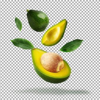 Avocat vert tranché frais isolé