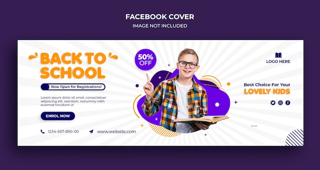 Back to school facebook timeline cover et web banner template