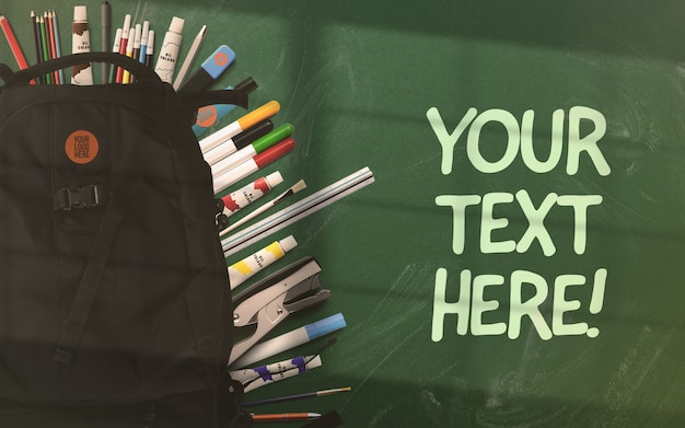 Back to school mockup backpack on green chalkboard