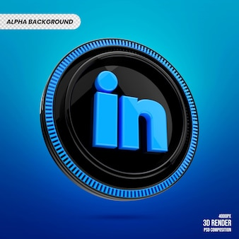 Badge logo linkedin 3d premium