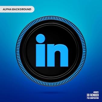 Badge Logo Linkedin 3d Premium PSD Premium