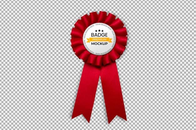 Badge avec maquette de ruban rouge