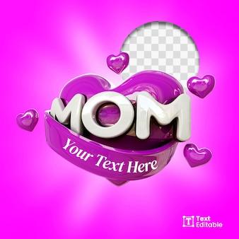 Badge de médias sociaux love mom