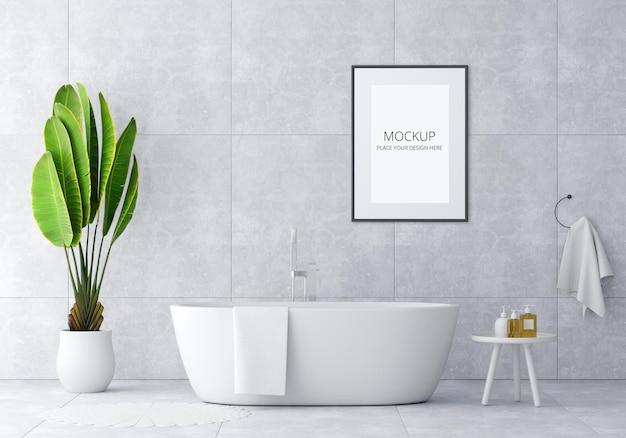 Baignoire intérieure de salle de bain avec maquette de cadre