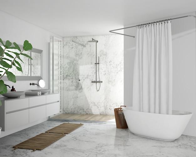 Baignoire avec rideau, armoire et douche
