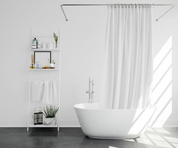 Baignoire avec rideau et étagère