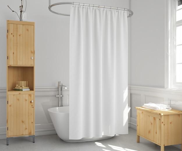 Baignoire avec rideau et étagères