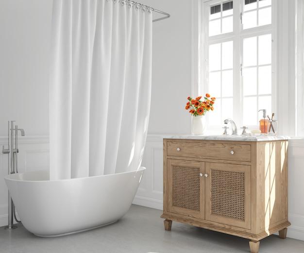 Baignoire avec rideau et lavabo sur placard