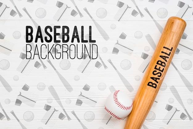 Balle et batte de baseball vue de dessus