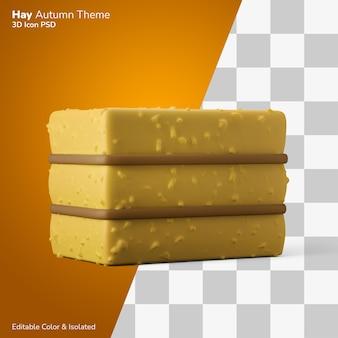 Balle carrée de foin 3d illustration rendu 3d icône modifiable isolé