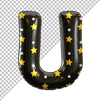 Ballon en aluminium alphabet de la lettre u noir pour halloween