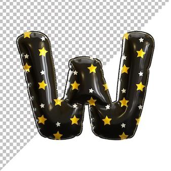 Ballon en aluminium alphabet de la lettre w noir pour halloween