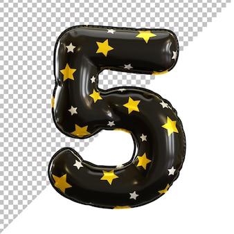Ballon aluminium numéro 5 cinq noir pour halloween