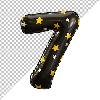 Ballon en aluminium numéro 7 sept forme avec motif en étoile