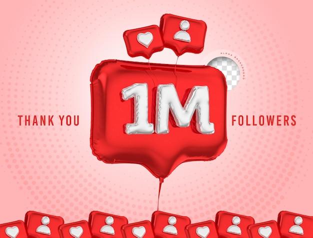 Ballon célébration 1 million d'abonnés 3d render médias sociaux