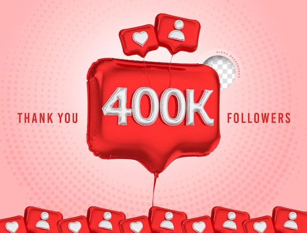 Ballon célébration 400k adeptes de rendu 3d médias sociaux