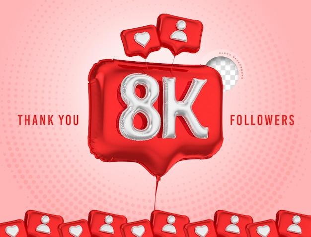 Ballon célébration 8k adeptes merci rendu 3d médias sociaux