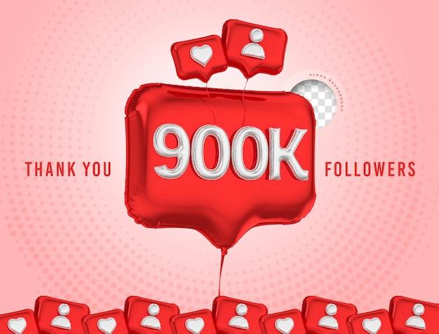 Ballon célébration 900k adeptes de rendu 3d médias sociaux