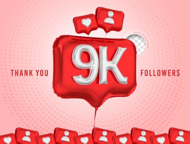 Ballon célébration 9k adeptes merci rendu 3d médias sociaux