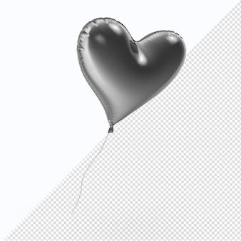Ballon coeur argent valentine isolé