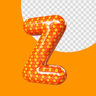 Ballon de feuille d'hélium 3d réaliste lettre z isolé
