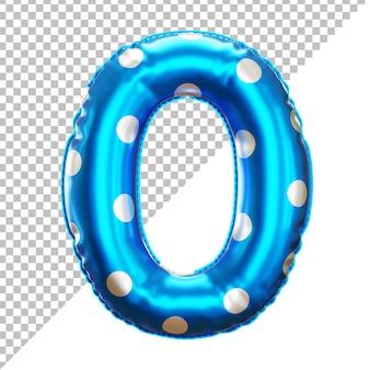 Ballon en feuille d'hélium 3d réaliste numéro 0 à pois
