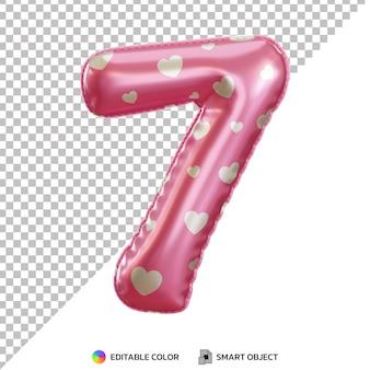 Ballon en feuille d'hélium rose numéro 7 réaliste 3d