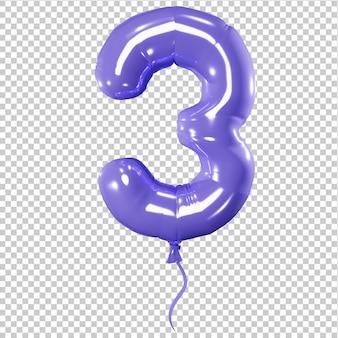 Ballon en forme de l'illustration 3d isolée numéro trois