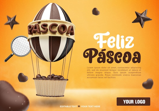 Ballon de pâques de rendu 3d avec des chocolats