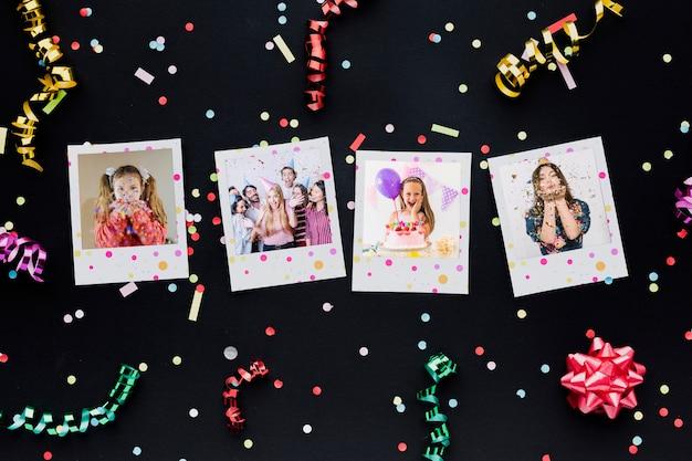 Ballons d'anniversaire colorés avec des photos