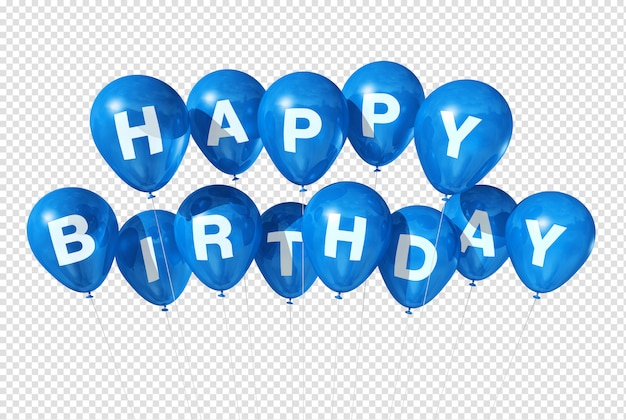 Ballons bleus joyeux anniversaire