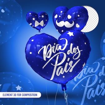 Ballons bleus avec texte et détails blancs