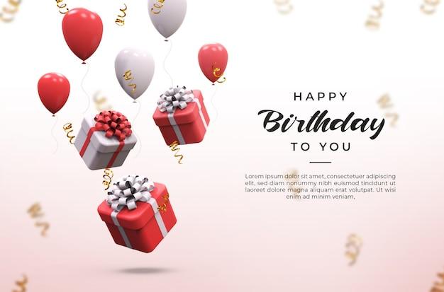 Ballons brillants roses et blancs 3d, boîtes à cadeaux et maquette de confettis