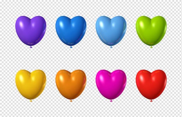 Ballons colorés en forme de coeur isolés