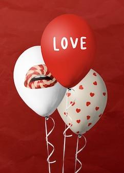 Ballons de fête de la saint-valentin blancs et rouges