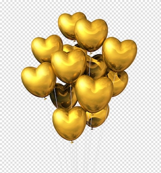 Ballons en forme de coeur d'or isolés