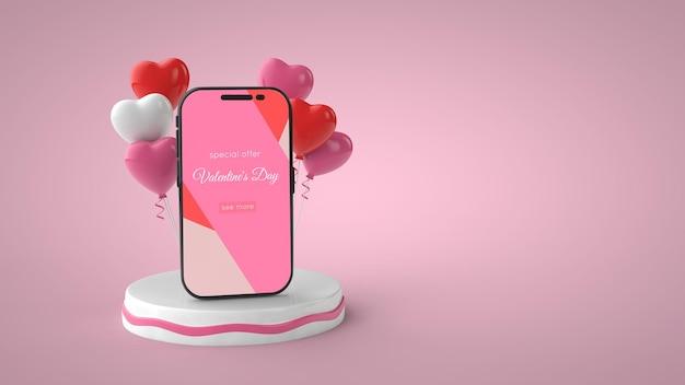 Ballons et maquette de smartphone pour la saint-valentin