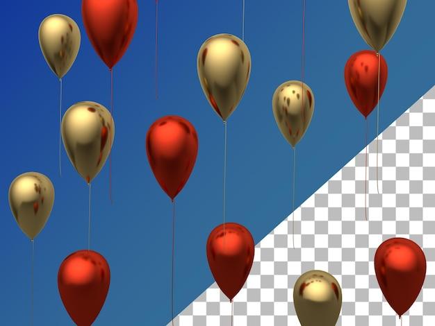 Ballons en or rouge rendu 3d isolé