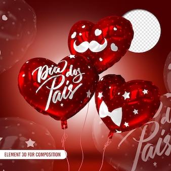 Ballons rouges avec texte et détails blancs