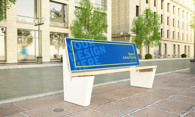 Banc de publicité sur le rendu 3d de maquette de rue