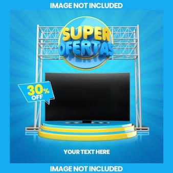 Banner super offres avec podium pour la vente de produits électro ménagers 3d