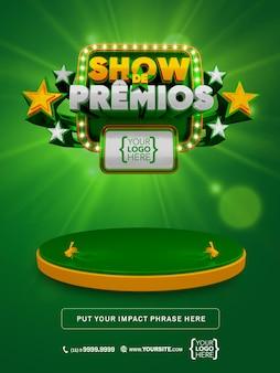 Bannière 3d awards show au brésil, promotion d'une maquette de conception verte et or