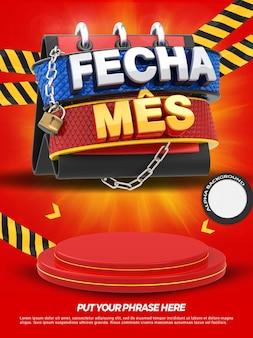 La bannière 3d avec podium ferme les magasins de promotion du mois dans la campagne générale au brésil